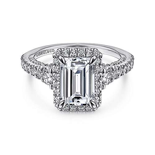 Ambition 18k White Gold Emerald Cut Halo Engagement Ring angle 1