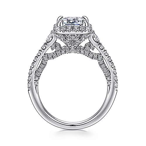 Ambition 18k White Gold Emerald Cut Halo Engagement Ring angle 2