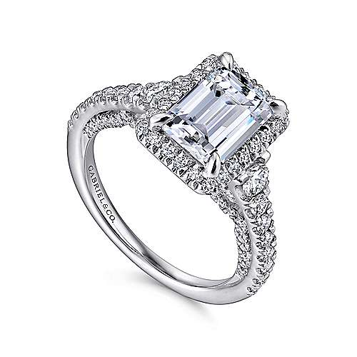 Ambition 18k White Gold Emerald Cut Halo Engagement Ring angle 3