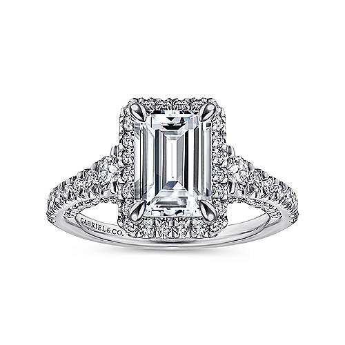 Ambition 18k White Gold Emerald Cut Halo Engagement Ring angle 5