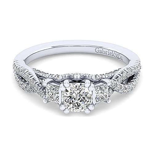Gabriel - Ambrosia 14k White Gold Cushion Cut 3 Stones Engagement Ring