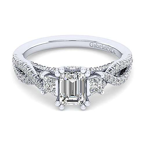 Gabriel - Ambrosia 14k White Gold Emerald Cut 3 Stones Engagement Ring