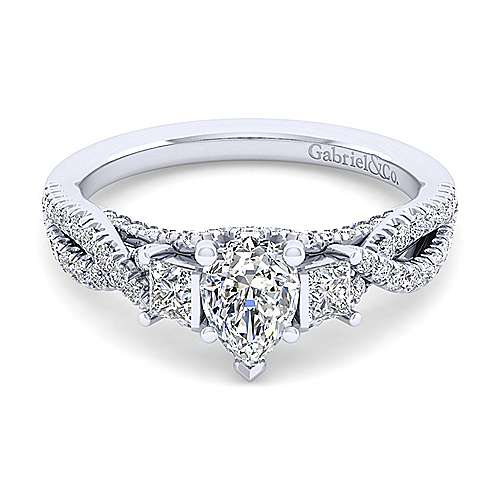 Gabriel - Ambrosia 14k White Gold Pear Shape 3 Stones Engagement Ring