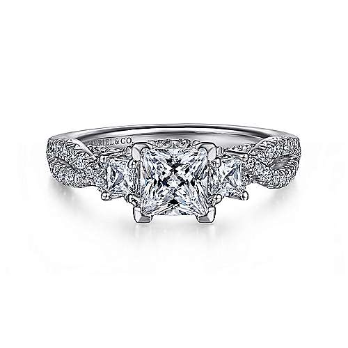 Gabriel - Ambrosia 14k White Gold Princess Cut 3 Stones Engagement Ring