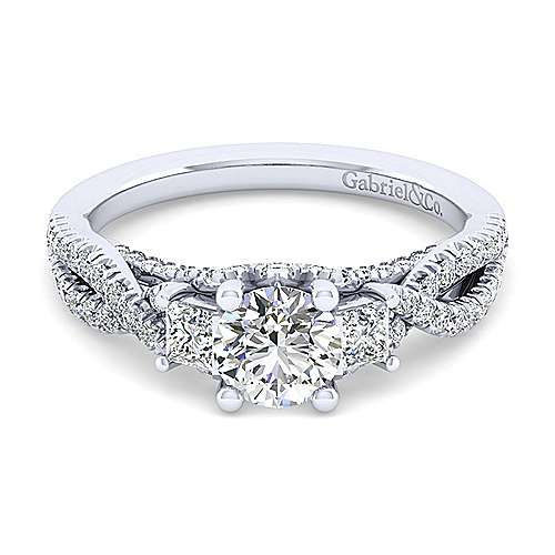 Gabriel - Ambrosia 14k White Gold Round 3 Stones Engagement Ring