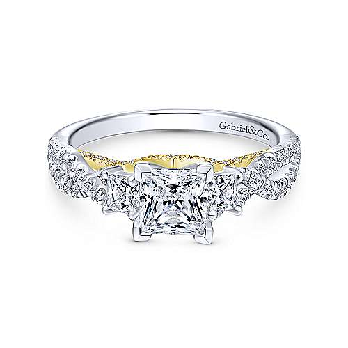 Gabriel - Ambrosia 14k Yellow Gold Princess Cut 3 Stones Engagement Ring