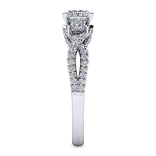 Ambrosia 18k White Gold Princess Cut 3 Stones Engagement Ring angle 5
