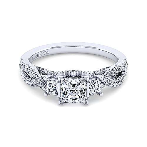 Gabriel - Ambrosia Platinum Princess Cut 3 Stones Engagement Ring