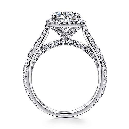Amelia 18k White Gold Round Halo Engagement Ring angle 2