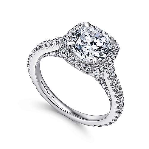 Amelia 18k White Gold Round Halo Engagement Ring angle 3