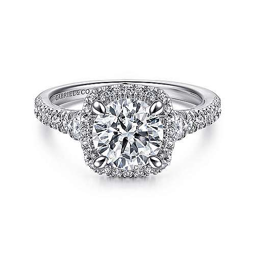 Gabriel - Amelia 18k White Gold Round Halo Engagement Ring