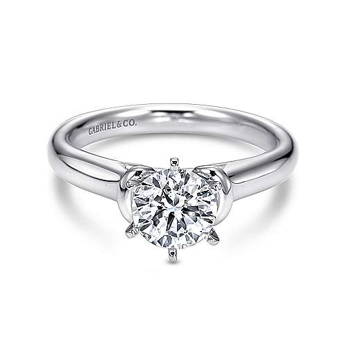 Gabriel - Amelina 14k White Gold Round Solitaire Engagement Ring