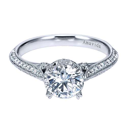 Gabriel - America 18k White Gold Round Straight Engagement Ring