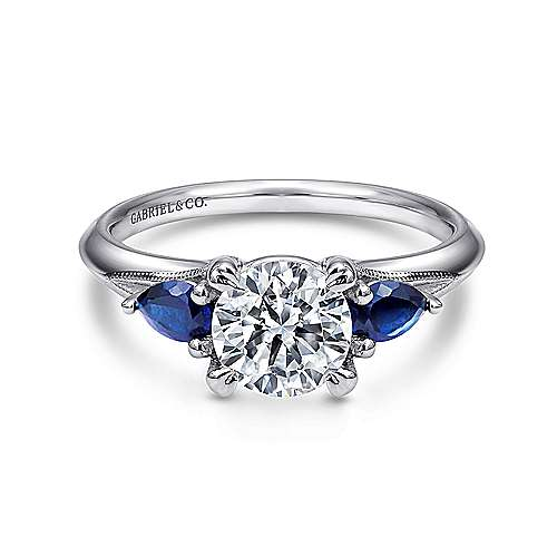 Gabriel - Amerie 14k White Gold Round 3 Stones Engagement Ring