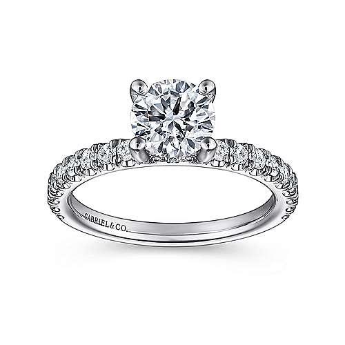 Amira 14k White Gold Round Straight Engagement Ring angle 5