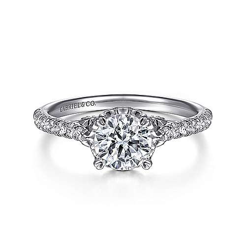 Gabriel - Amor 18k White Gold Round Straight Engagement Ring