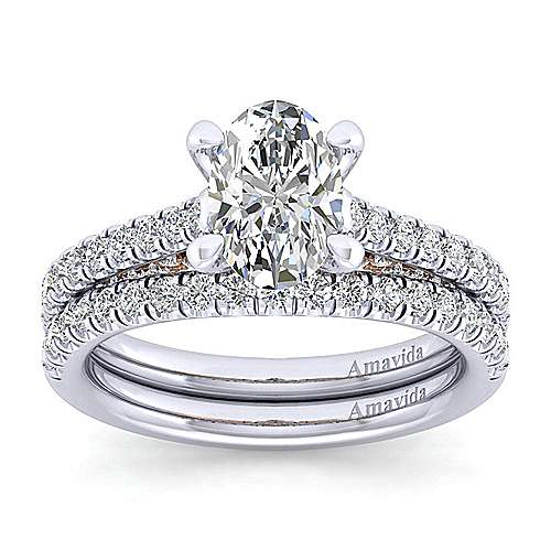 Anais 18k White And Rose Gold Oval Straight Engagement Ring angle 4