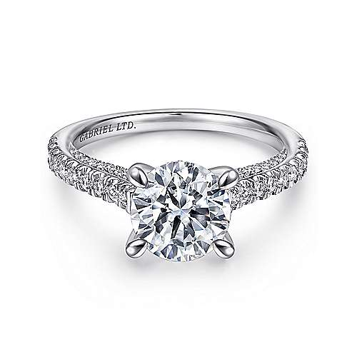 Gabriel - Anais 18k White Gold Round Straight Engagement Ring
