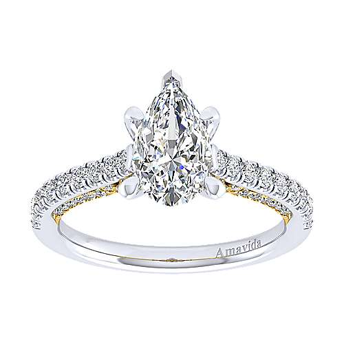 Anais 18k Yellow And White Gold Pear Shape Straight Engagement Ring
