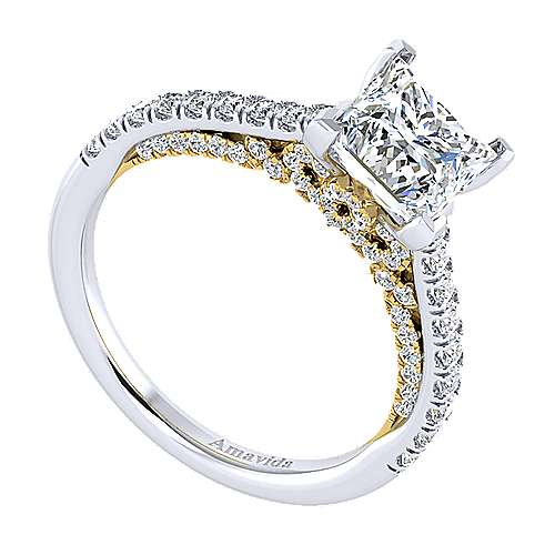 Anais 18k Yellow And White Gold Princess Cut Straight Engagement Ring