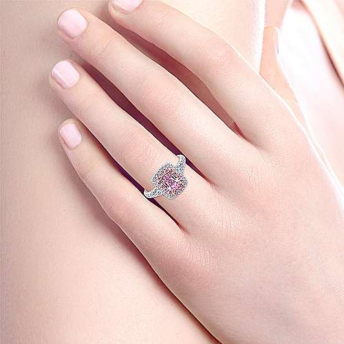 Analia 14k White And Rose Gold Oval Double Halo Engagement Ring angle 6