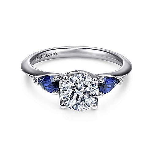 Anastasia 18k White Gold Round 3 Stones Engagement Ring angle 1