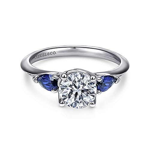 Gabriel - Anastasia Platinum Round 3 Stones Engagement Ring