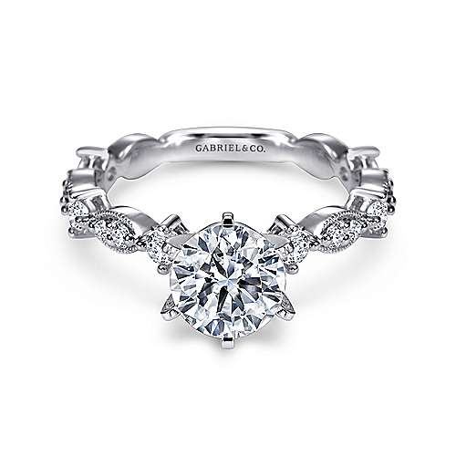 Gabriel - Ancora 18k White Gold Round Straight Engagement Ring