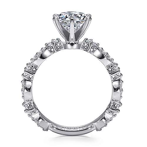 Ancora 18k White Gold Round Straight Engagement Ring angle 2