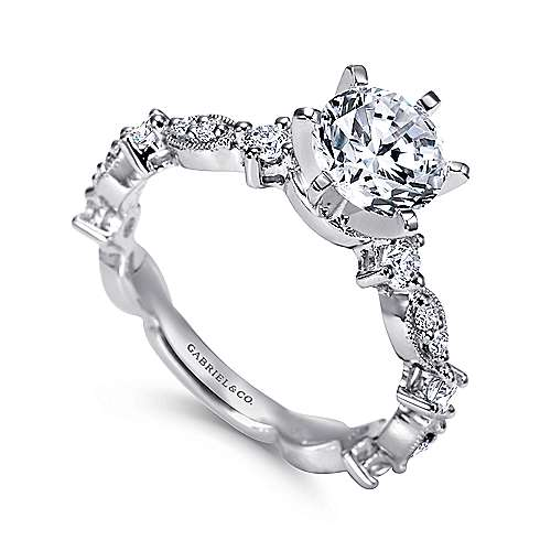 Ancora 18k White Gold Round Straight Engagement Ring angle 3