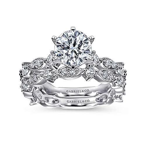 Ancora 18k White Gold Round Straight Engagement Ring angle 4