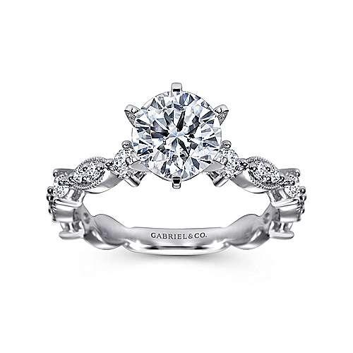 Ancora 18k White Gold Round Straight Engagement Ring angle 5