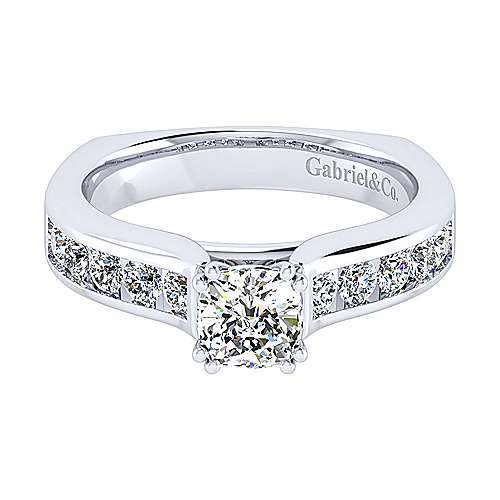 Gabriel - Anderson 14k White Gold Cushion Cut Straight Engagement Ring