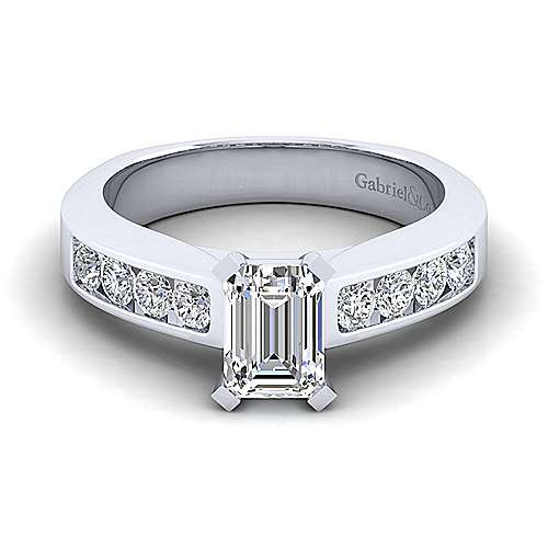 Gabriel - Anderson 14k White Gold Emerald Cut Straight Engagement Ring