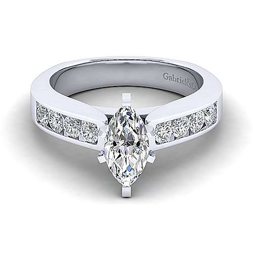 Gabriel - Anderson 14k White Gold Marquise  Straight Engagement Ring
