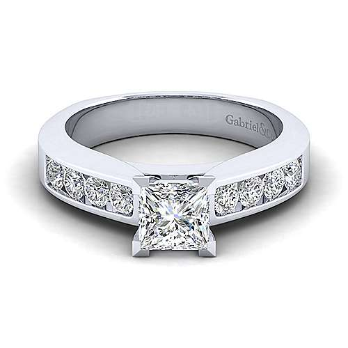 Gabriel - Anderson 14k White Gold Princess Cut Straight Engagement Ring