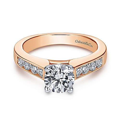 Gabriel - Anderson 14k White/pink Gold Round Straight Engagement Ring