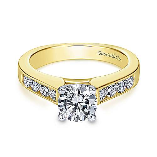 Gabriel - Anderson 14k Yellow And White Gold Round Straight Engagement Ring