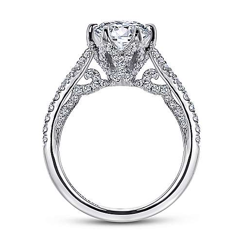 Andre 18k White Gold Round Split Shank Engagement Ring angle 2