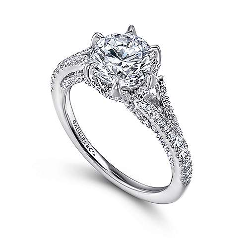 Andre 18k White Gold Round Split Shank Engagement Ring angle 3