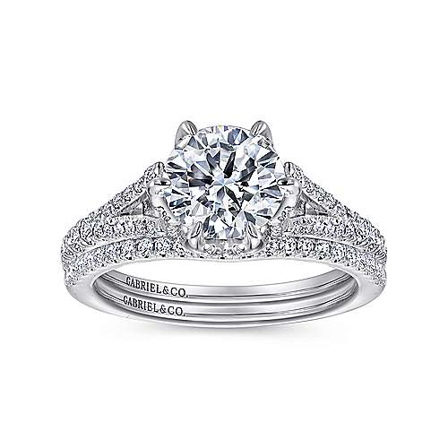 Andre 18k White Gold Round Split Shank Engagement Ring angle 4