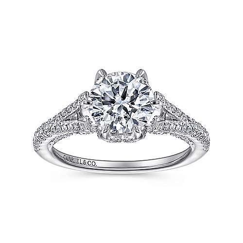 Andre 18k White Gold Round Split Shank Engagement Ring angle 5