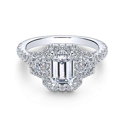 Gabriel - Andrea 18k White Gold Emerald Cut 3 Stones Halo Engagement Ring