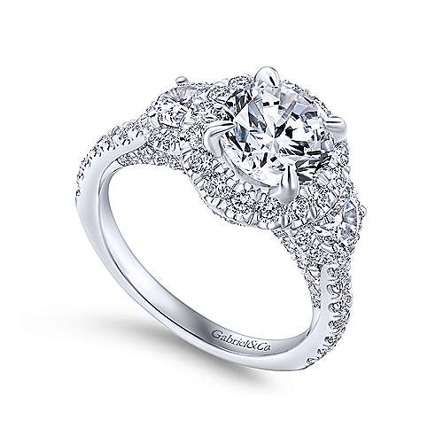 Andrea 18k White Gold Round 3 Stones Halo Engagement Ring angle 3