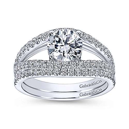 Andrina 14k White Gold Round Split Shank Engagement Ring angle 4