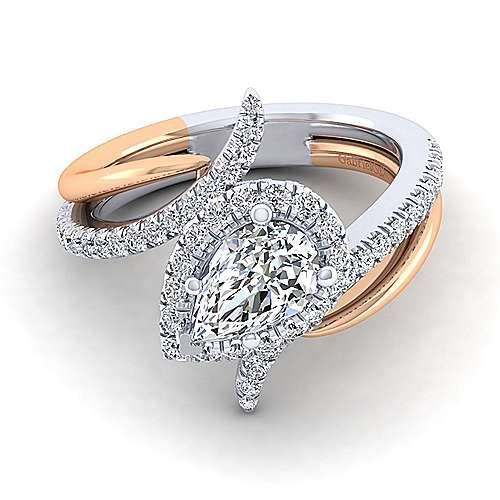 Gabriel - Andromeda 14k White And Rose Gold Pear Shape Halo Engagement Ring