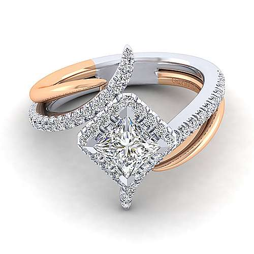 Gabriel - Andromeda 14k White And Rose Gold Princess Cut Halo Engagement Ring