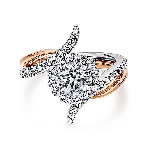 Gabriel - Andromeda 14k White/pink Gold Round Halo Engagement Ring