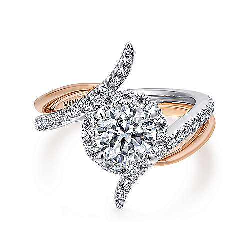 Gabriel - Andromeda 14k White/rose Gold Round Halo Engagement Ring