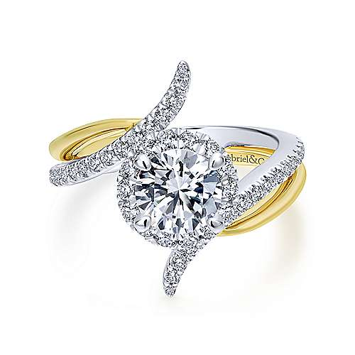 Gabriel - Andromeda 14k Yellow And White Gold Round Halo Engagement Ring